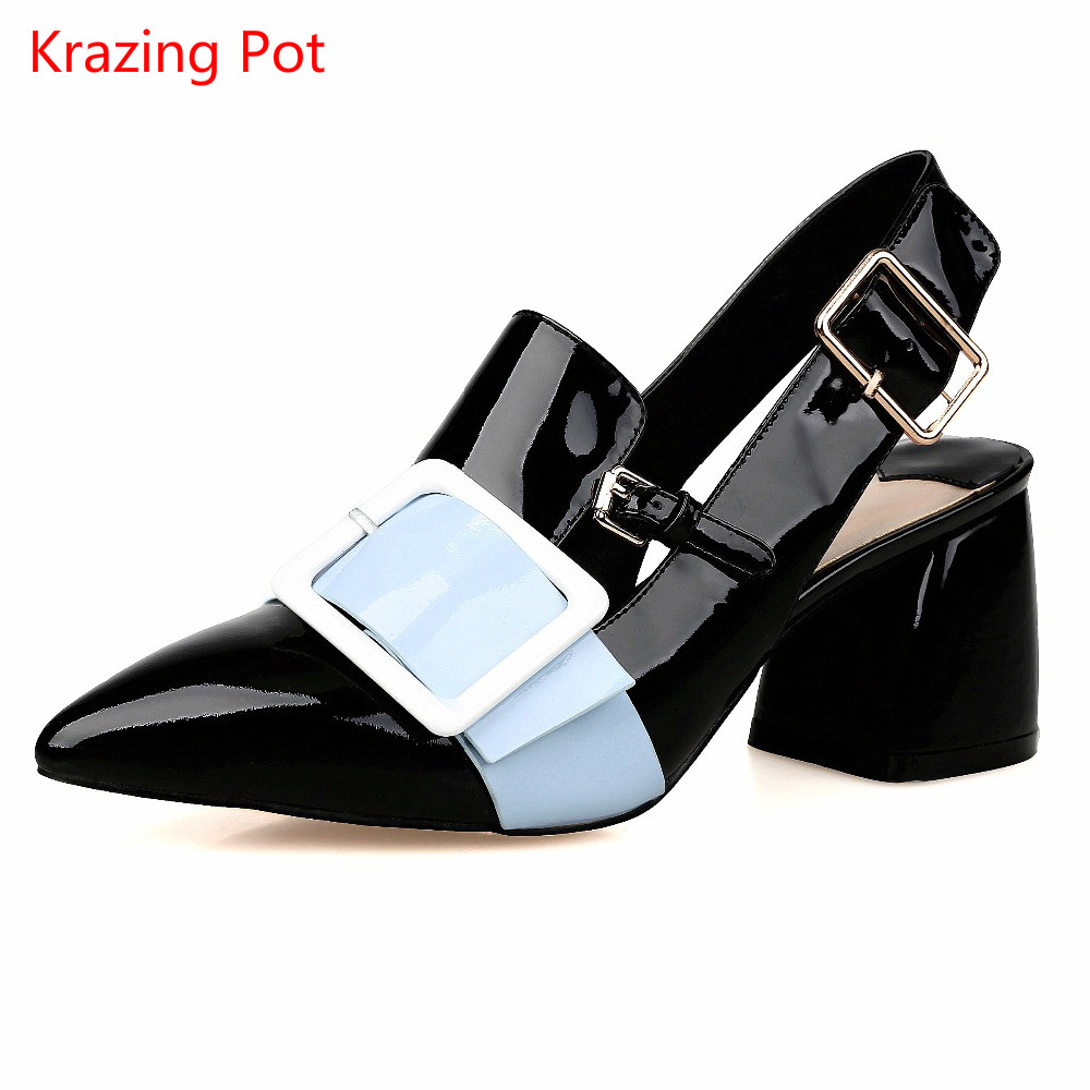 Metal Decoration Square Buckle Mixed Color Woman Sandals Slingback Pumps High Heel Pointed Toe Genuine Leather