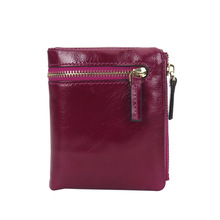 Folded Violet Multi-function Small Shiny Genuine leather Short Wallet Card package Zero Purse Multi card Compact and practical