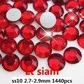 Lt Red Rhinestones de Cristal Para Uñas Arte 1440 unids ss10 2.7-2.9mm Luz Siam Color de la Parte Posterior Plana para no Glue Hotfix En Piedras de Cristal Diy