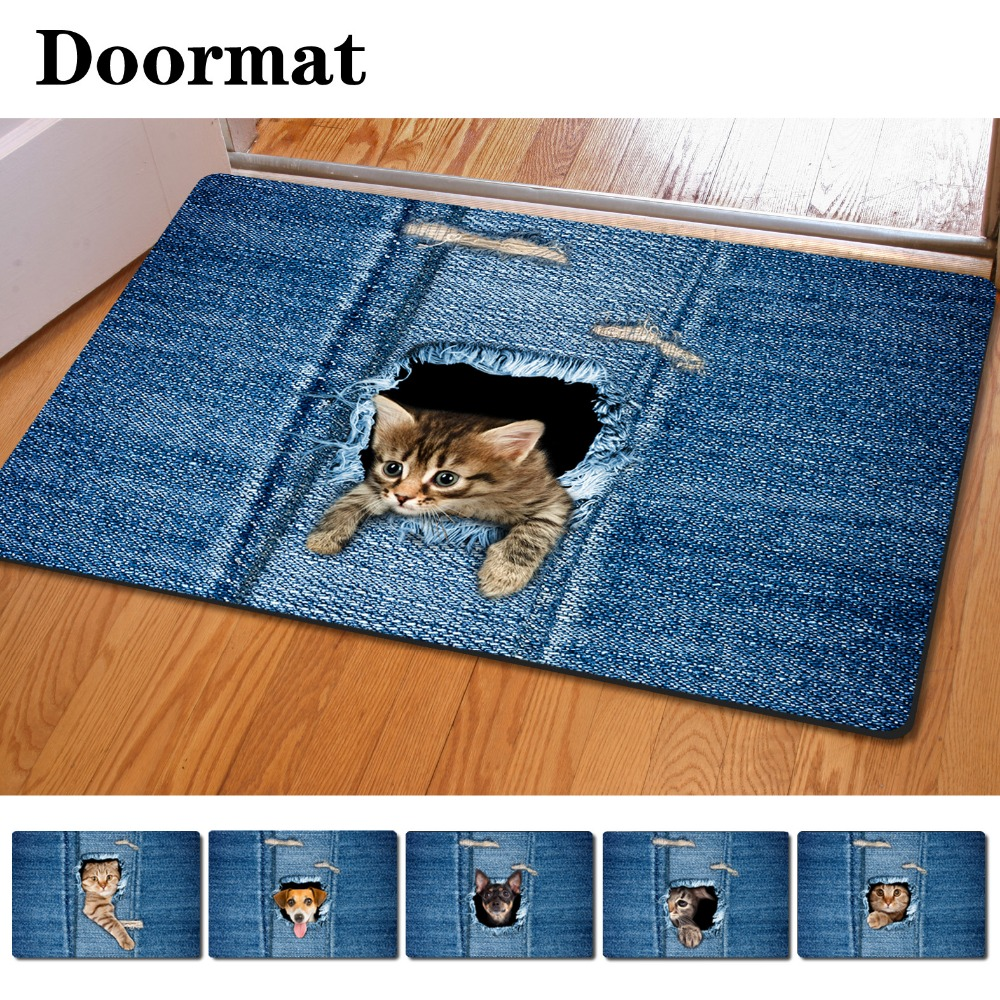 Rubber floor mats bathroom - Fashion Kawaii Welcome Floor Mats Animal Cute Cat Dog Print Bathroom Kitchen Carpet House Doormats For Living Room Anti Slip Rug