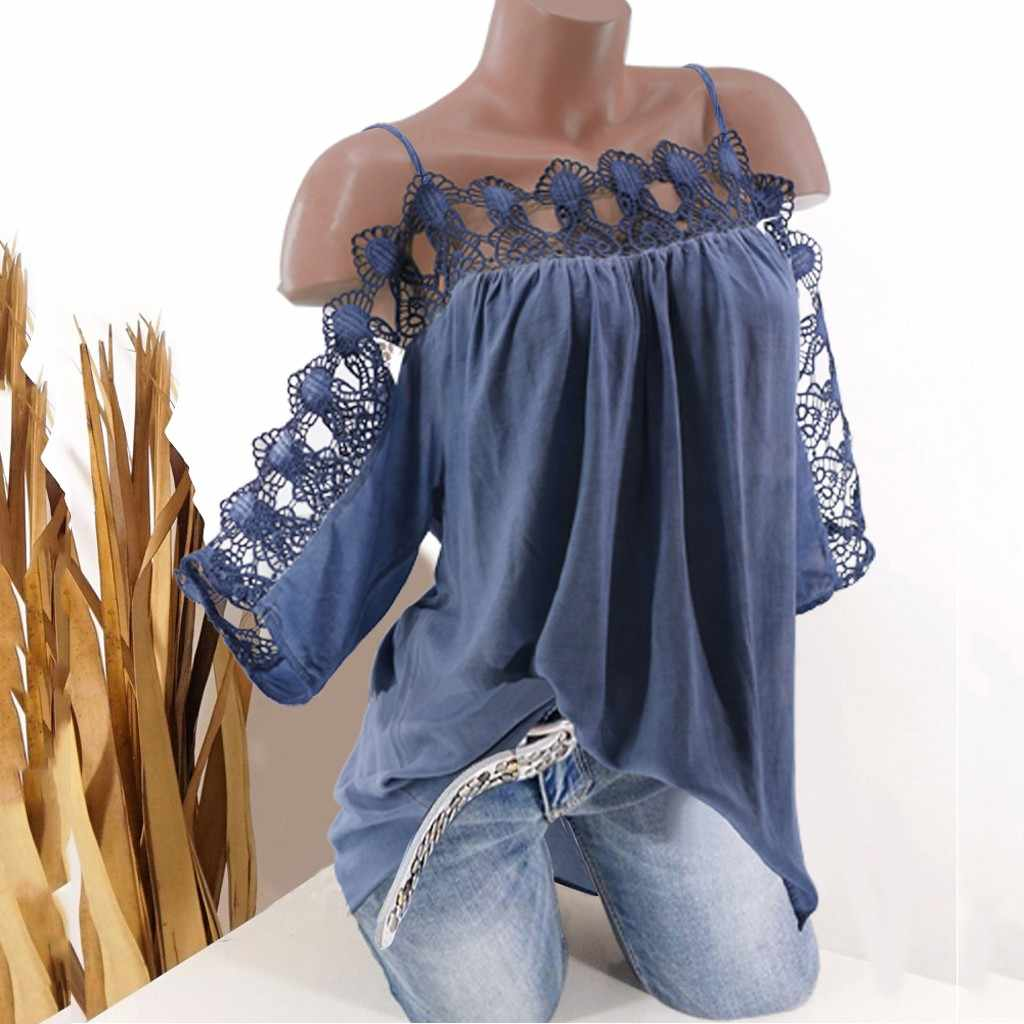 S-5XL Vrouwen Blouse Kant Korte Mouw Koude Schouder Strappy Zomer Top vrouwen Blouses En Top Hollow Out Dames Mujer tops