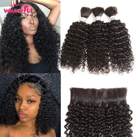 Remy Human Hair Indian Kinky Curly Bundles Hair For Braiding Natural Color 10 30 Inch Crochet Braids WAWonderful Hair