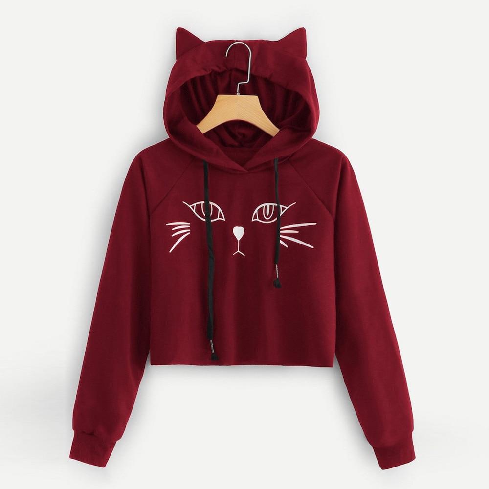 Cat Cropped Hoodie Women Cute Cat Ear Hooded Sweatshirt Long Sleeve Printing Short Crop Top Hoodie Bluza Damska Women Sweatshirt