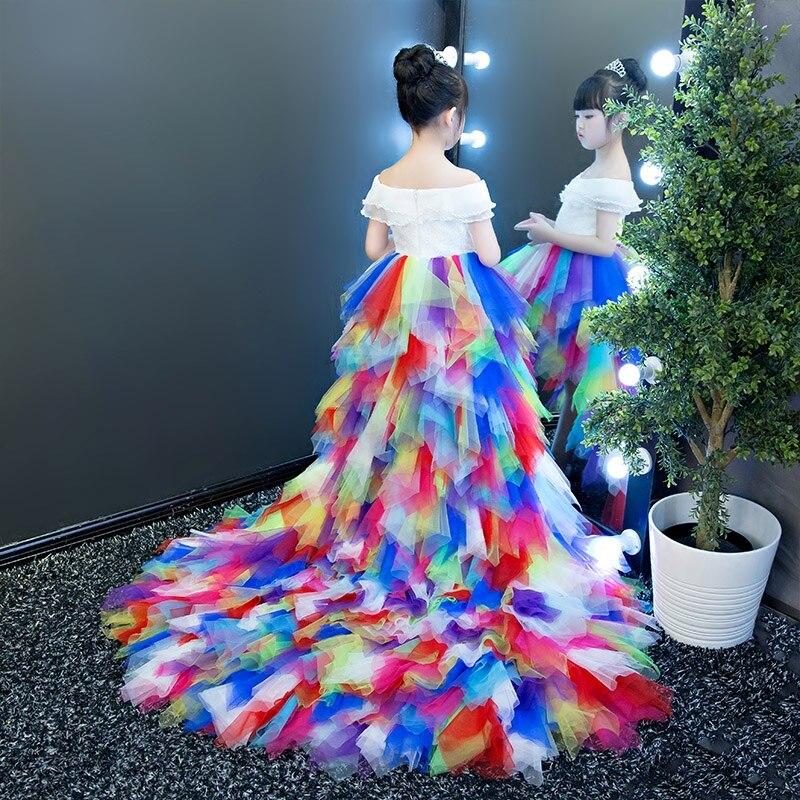 Luxury Trails Rainbow Princess Dress Off Shoulder Flower Girl Dress Summer Girl Ball Gown Beading First Communion Dresses E339 pearl beading scallop off shoulder dress