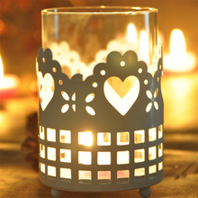 Glass Candle Holder Metal Flower Designs White Wedding Decoration Tealight Holders Candelabra Bougeoir Chandelier 50KO297