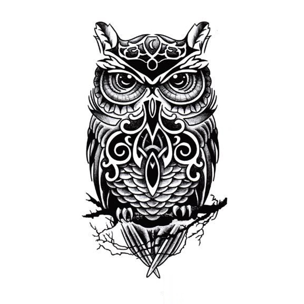 21*15cm Sexy Men Women Arm Fake Black Owl Tattoo Large Temporary Body Art Tattoos Sticker Transfer la palmyre zoo