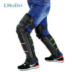 LMoDri Motorrad Warm Kniepolster Legs Wärmer Motorrad Reiten Schutzknieschützer Winddicht Winter PU Leder Wasserdicht 2 teile/los