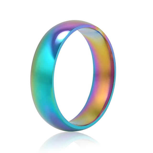 Men Women Rainbow Colorful Ring Titanium Steel Wedding Band Ring Width 6mm Size