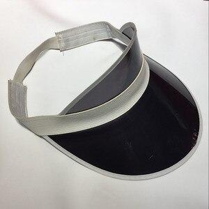Image 3 - Kadın ayarlanabilir 8 adet/grup şeker şeffaf PVC plastik şapkalar çok renkli güneşlik plaj parti kapaklar UV koruma bisiklet şapka
