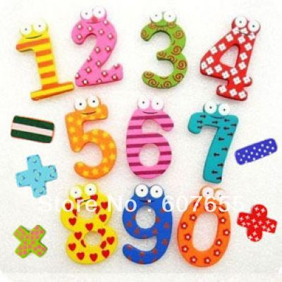 Children's creative gifts toys wooden magnetic stickers digital wood Fridge magnets 1set/lot (15pcs/set) paper crafts