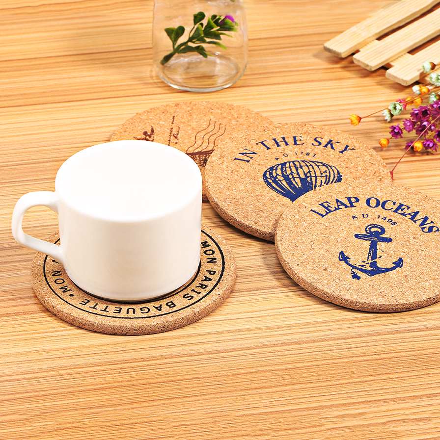 4 Pcs Set Retro Style Cork Drink Coaster Coffee Cup Mat Tea Pad Table Decor