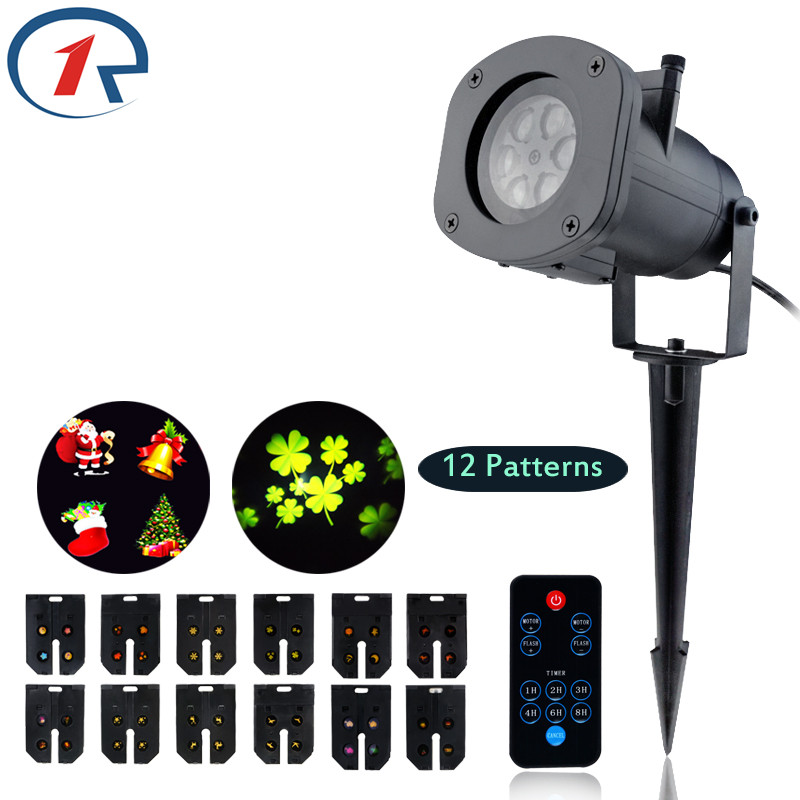 ФОТО ZjRight IR Remote 12Pattern projection LED light outdoor garden stage light Birthday Christmas party effect light disco dj light