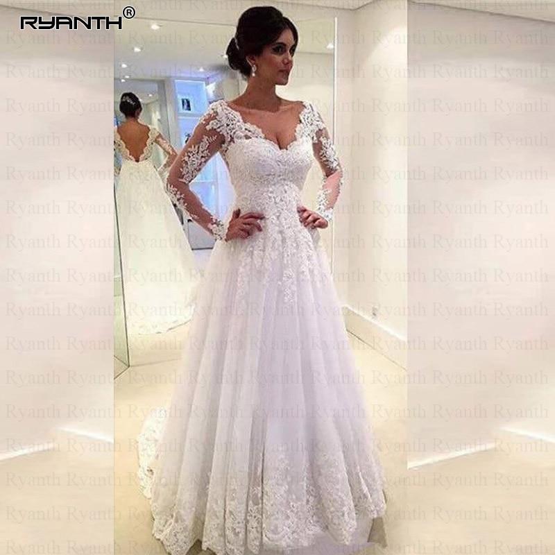 Ryanth Tulle Long Sleeve Wedding Dress 2019 Beaded Robe De Mariage Bride Dress Lace Luxury Sheer