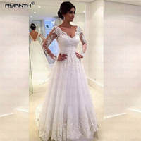 Ryanth Tulle Long Sleeve Wedding Dress 2019 Beaded Robe De Mariage Bride Dress Lace Luxury Sheer Bridal Gowns Vestido De Noiva