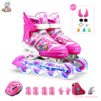 Toy Sports Professional Roller Skates Kids Inline Speed Skates 4 Wheels Roller Skating Shoes for Boys and Girls with Gym Bag