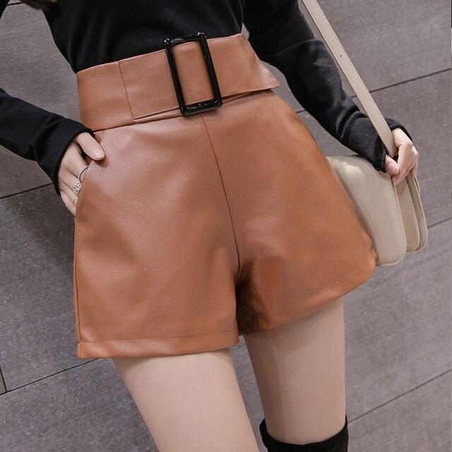 2019 Korean PU Faux Leather Shorts Women Autumn Winter High Waist Wide Leg Short ladies Plus Size Sexy Black Belted Short Femme 2