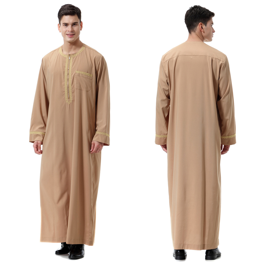 HTB1lbGJeRGE3KVjSZFhq6AkaFXaS - New black jubba thobe islamic clothing men caftan homme zipper arabic djellaba homme pakistan robe muslim djellaba men islam
