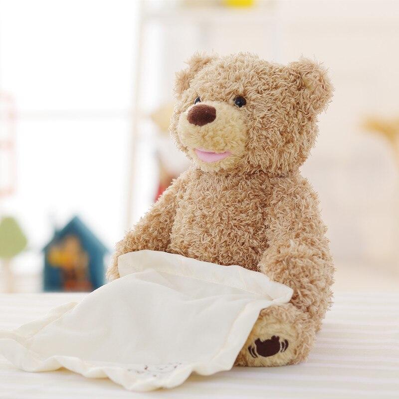 2018 Мишка прятки анимированные чучело говоря медведь игрушка застенчивый медведь лучший подарок на день рождения для детей ...