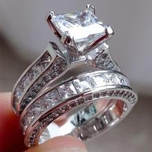 Новинка, стильные очаровательные парные кольца His Her, Стерлинговое Серебро S925 пробы, принцесса, CZ годовщина, обещание, обручальные кольца, наборы