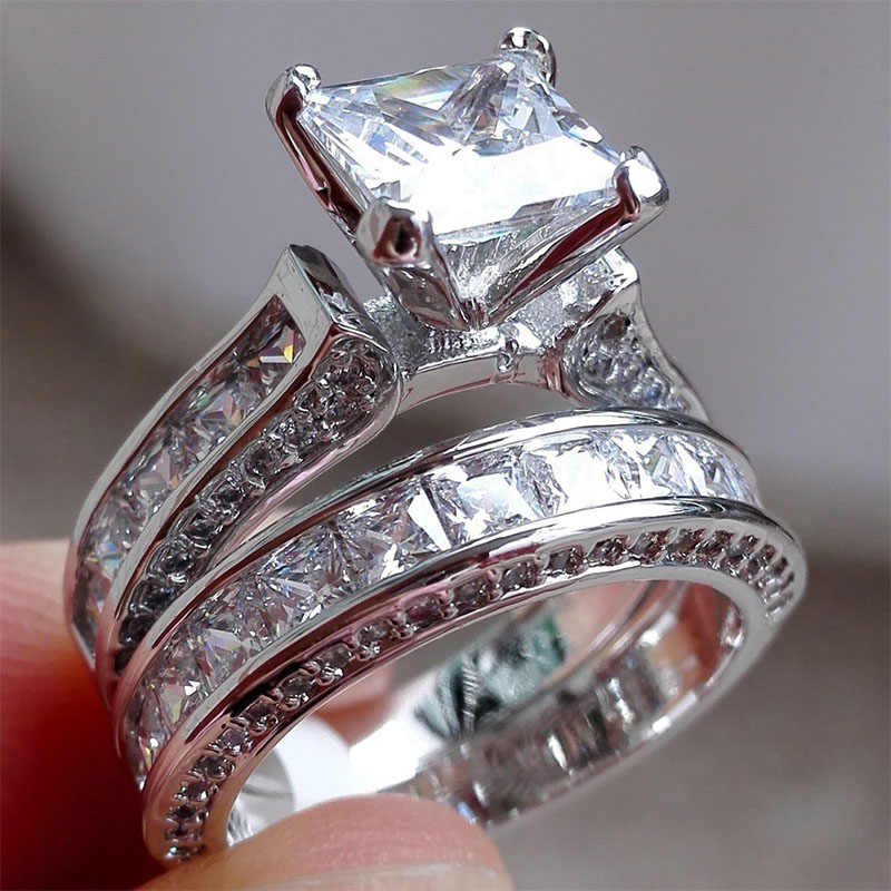 2019 New Style Charm Couple Rings His Her S925 Sterling Silver Princess Cut CZ Anniversary Promise Wedding Engagement Ring Sets