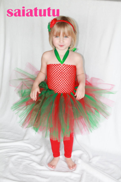 red green tulle baby flower girl wedding dress fluffy birthday evening prom cloth ball gown party rainbow multicolour tutu dress