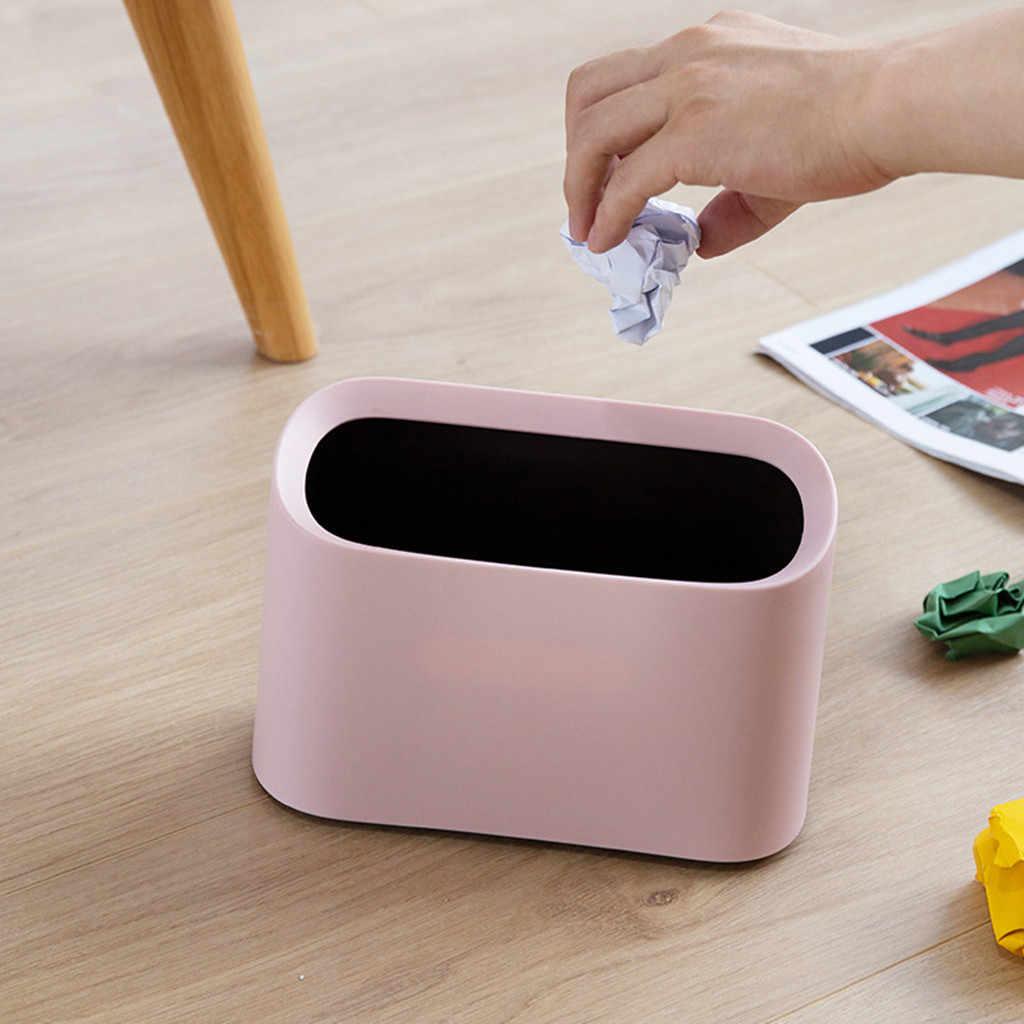 Armazenamento de lixo Portátil prático moda Quebrar-Resistente Plástico Pequena Lixeira Lixeira Oval Moderna quente