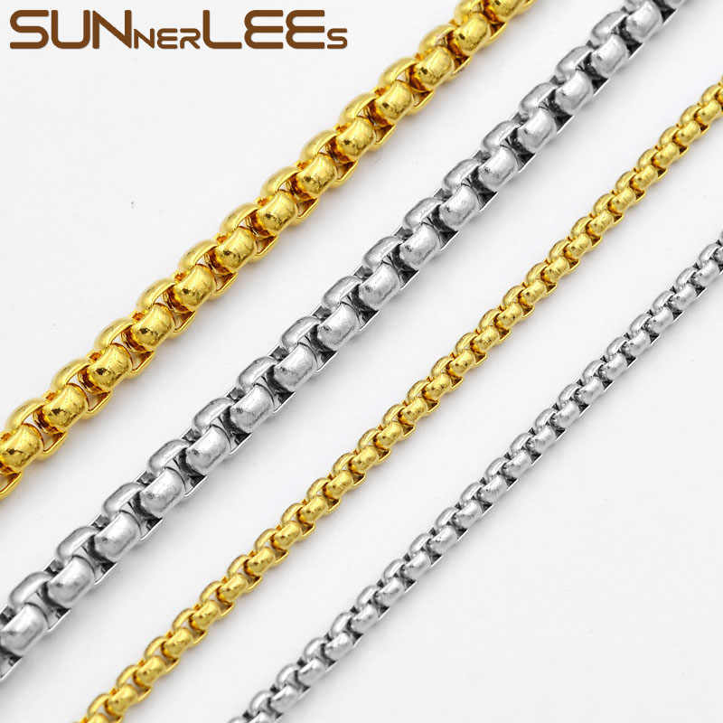 SUNNERLEES Fashion Jewelry Stainless Steel Necklace 2mm~7mm Box Beads Style Link Chain For Mens Womens SC17 N