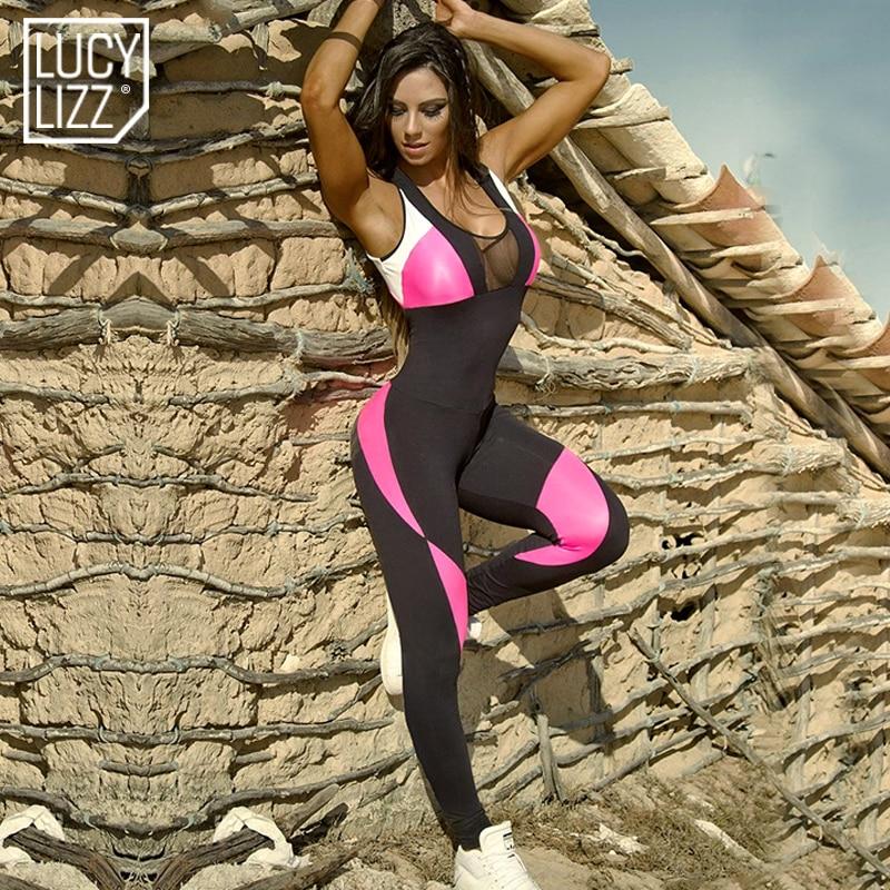 Prix pour Femmes Fitness Stretch Sexy Patchwork De Yoga Ensembles Combinaisons Dos Nu Mesh Globale Gym Sport Creux Out Sport Costume Combinaisons