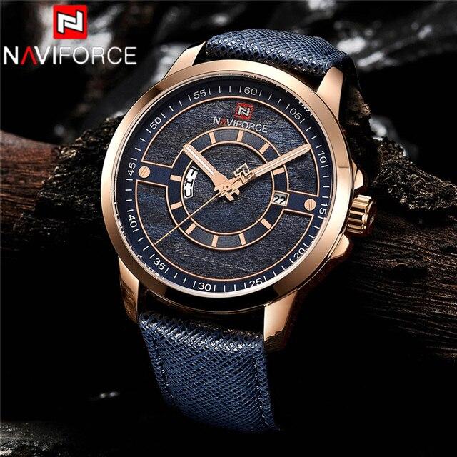 Relogio Masculino New NAVIFORCE Men Watch Sport Waterproof Wristwatch Military Army Business Leather Band Quartz Male Clock 9151