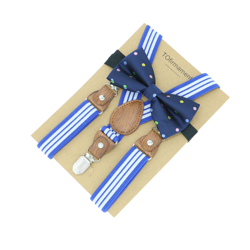 3 Clips Striped Kids Suspenders Cartoon Animal Bowtie Set Ring Bearer Outfit Two Pieces Baby Boy Holiday Wear