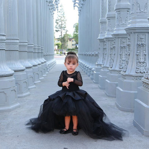 2019 Black   Flower     Girls     Dresses   High Low Taffeta Tulle   Girl's   Pageant   Dresses   Kids Prom Birthday Party Wear Dot Lace Long Sleeve