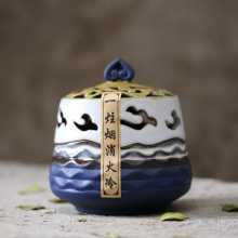 Lucky Sandalwood Furnace Ceramic Japanese Style Handmade Stick Tower Coil Incense Burner Plate Aromatherapy Censer