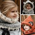 2016 Korean Winter Warm Neck Wrap Fox Scarf Caps Cute Children Wool Knitted Baby Hat Shawls Hooded Cowl Beanie Caps for girls