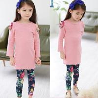 Long Sleeve Girls Suits 2018 New Autumn Spring Kids Clothes Cotton Shirts Flower Legging 2pcs Childrens