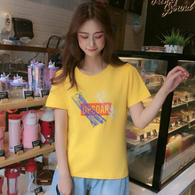 2019 Summer New Women's T-shirt Korean Fashion Casual Personality Letter Printing Female Tshirts Loose O-Neck Yellow Tees Tops все цены