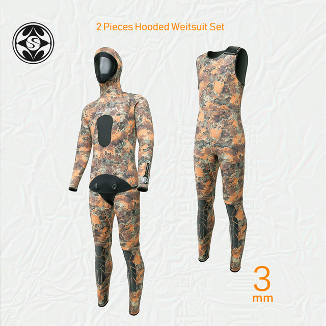 SLINX 2 Pieces Camouflage Hooded Wetsuit Set Sleeveless Scuba Diving Suit+Jacket Keep Warm Spearfishing Wet Suit 3mm Neoprene