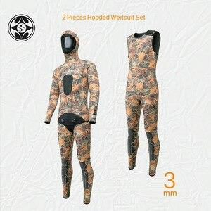 Image 1 - SLINX 2 adet kamuflaj kapüşonlu Wetsuit seti kolsuz tüplü dalgıç kıyafeti + ceket sıcak tutmak Spearfishing dalış elbisesi 3mm neopren