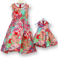2017 Bohemia Mother Daughter Dress Beach Sleeveless Chiffon Summer Maxi Dresses Matching Mom and Girls Clothes C30