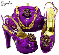 Capputine 2018 New Italian Shoes And Bag To Match Set African Party Rhinestone High Heels Purple