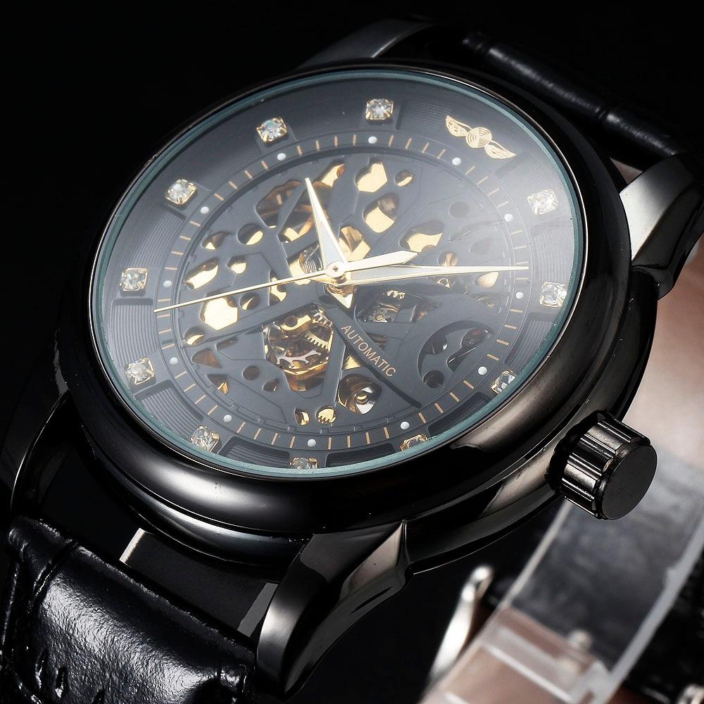 WINNER Top Brand Luxury Mens Automatic Watch Diamond Skeleton Dial Black Clock Leather Strap Mechanical Wrist