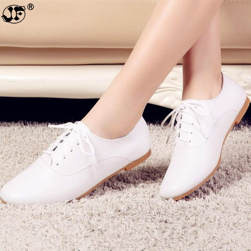 2019 Spring Women Oxford Shoes Ballerina Flats Shoes Women Genuine Leather Shoes Moccasins Lace Up Loafers White Shoes 569