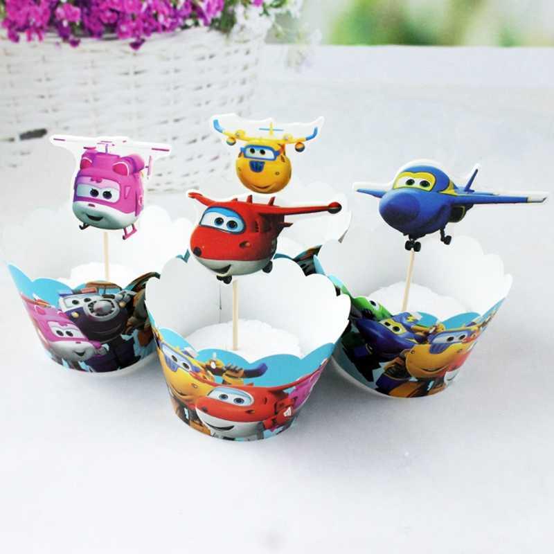 24 pçs/lote Super Dos Desenhos Animados Asas Aeronave Robô Crianças Fontes Do Partido de Aniversário de Casamento de Coco Do Queque Wrappers Decoração Do Bolo Copos