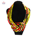 BRW Fashion African Necklaces for Women Wax Cotton Rope Chain Statement Handmade Africa Jewelry  Accessories WYB08