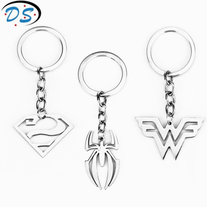 dongsheng jewelry DC Comics Superheroes Super Man Keychain Spiderman Wonder Woman Key Chains for Bags Stainless Steel Keyrings