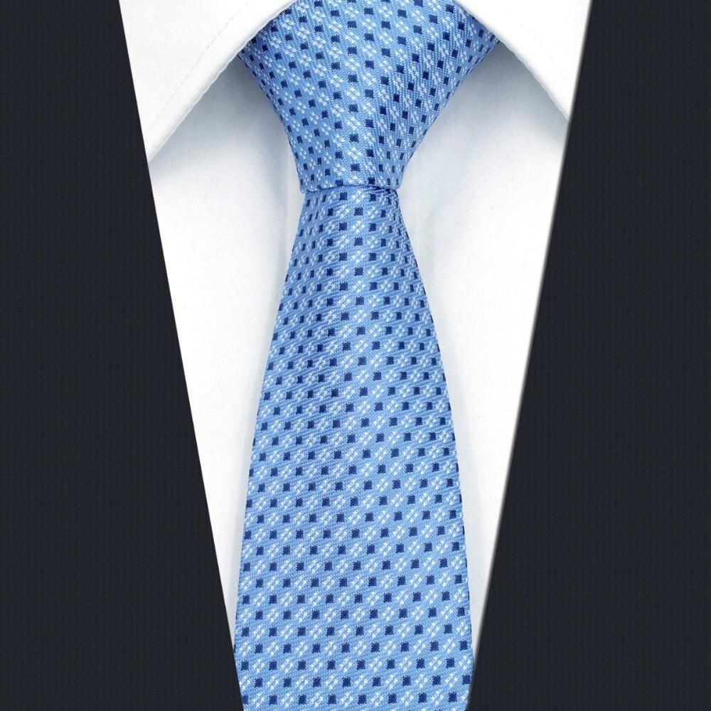 BZ6 Azure Blue Dots Mens Ties Classic Slim Wedding Silk Tie 6cm Silk Business Fashion