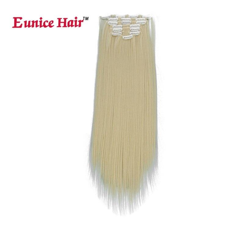 Eunice hår 100% REAL THICK 180G 8PCS FULL HEAD Klipp in på - Syntetiskt hår