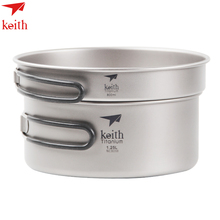 Keith Kitchen 1.25L Frying Pan 800ml Titanium Cookware Foldable Cookware Outdoor Camping Bowl Camping Pot Set Cooking Pot keith folding titanium bowl healthy camping pot frying pan outdoor tableware ti5323 ti5326
