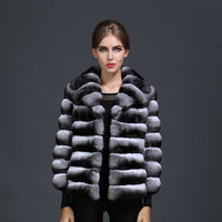 Natural Chinchilla Fur Stripe fur style Mrs Winter Fur Style Luxury Wear,Real Fur Coat For Ladies