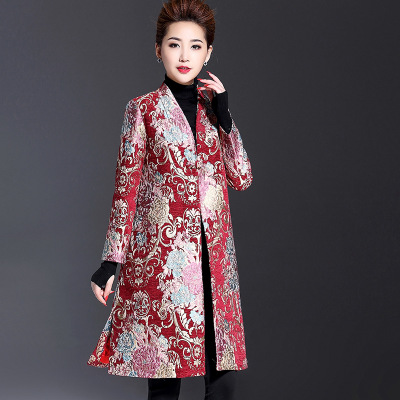 US $102.0 |Plus size Fashion 2017 Autumn Trench Coat women\'s V neck long  sleeve mother clothing wedding formal dress outerwear trench -in Trench  from ...