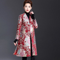 Plus size Fashion 2017 Autumn Trench Coat women's V neck long sleeve mother clothing wedding formal dress outerwear trench